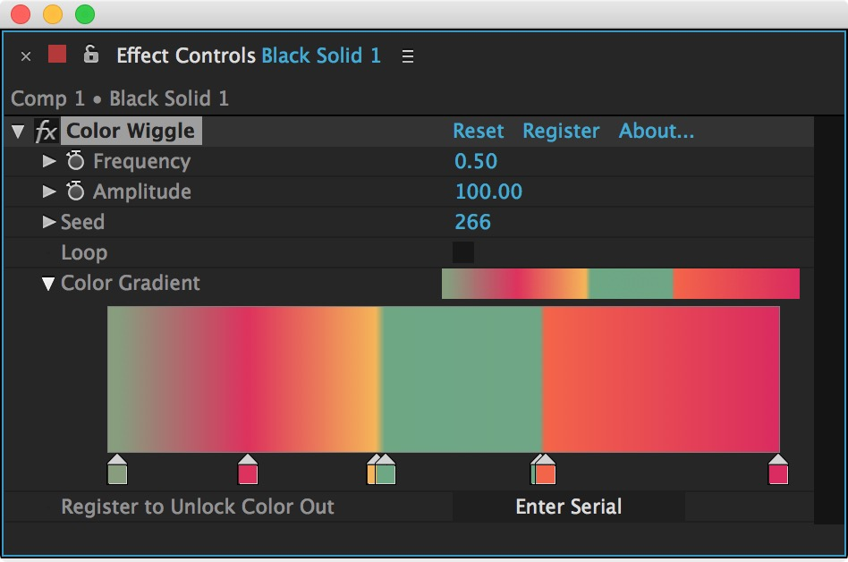 Color Wiggle Effect Controls